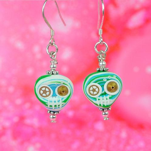 White, Blue & Green E-Skull Drop Earrings