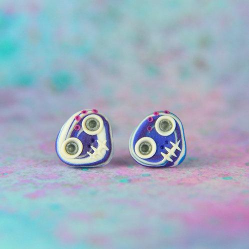 White, Royal Blue & Silver E-Skull Stud Earrings