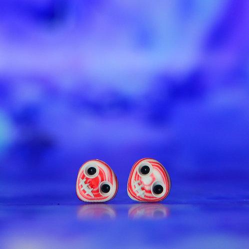 White, Red & Black E-Skull Stud Earrings