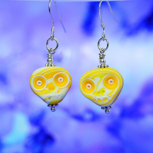 White & Yellow E-Skull Drop Earrings