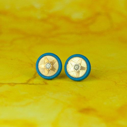Teal Rare Timepiece Stud Earrings (M)