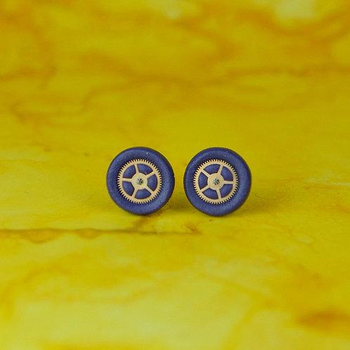 Purple Timepiece Stud Earrings (M)