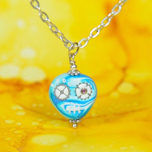White & Blue Rare Timepiece E-Skull Necklace