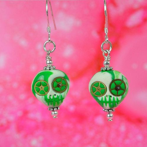 White & Green E-Skull Drop Earrings