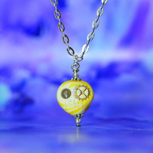 White & Yellow Classic E-Skull Necklace