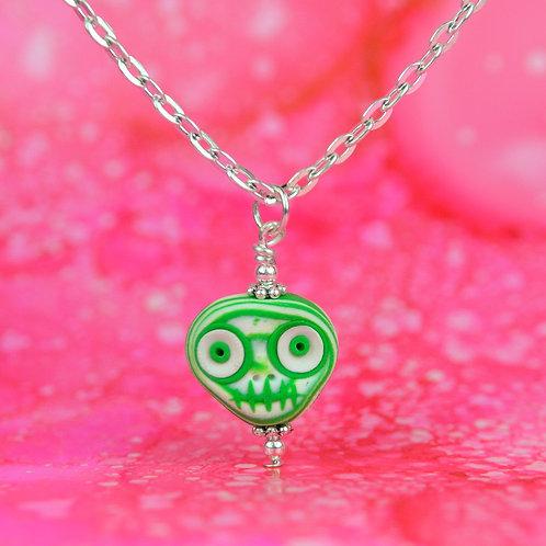 White & Green Classic E-Skull Necklace