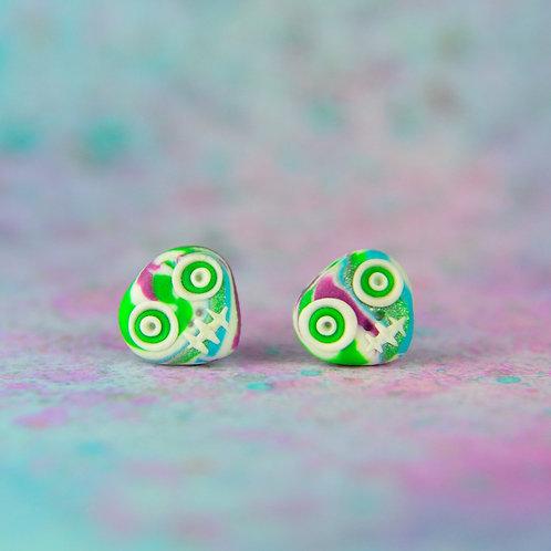 White, Pink, Silver & Green E-Skull Stud Earrings