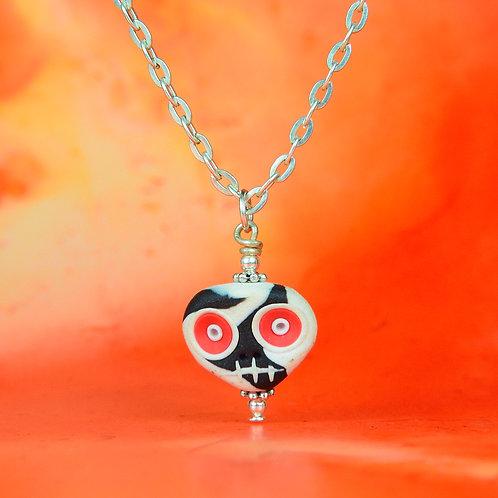 White, Black & Red Classic E-Skull Necklace