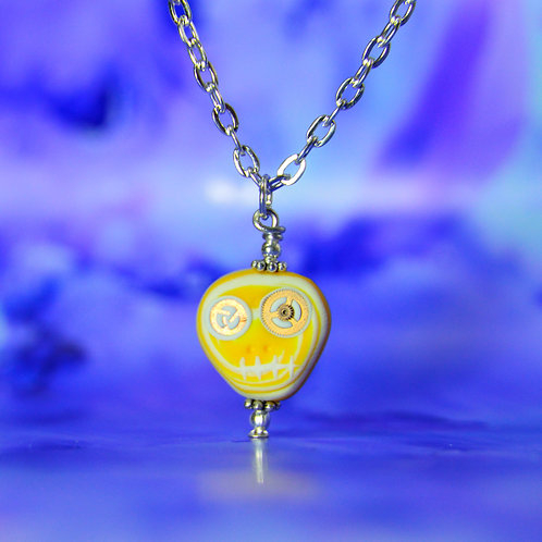 White & Yellow Rare Timepiece E-Skull Necklace