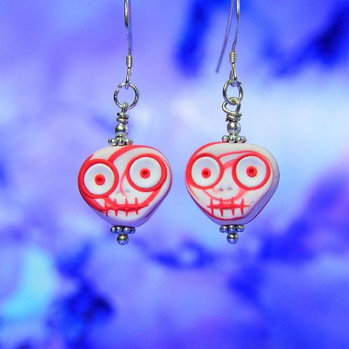 White & Red E-Skull Drop Earrings