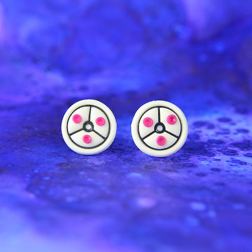 White and Pink Timepiece Stud Earrings (L)