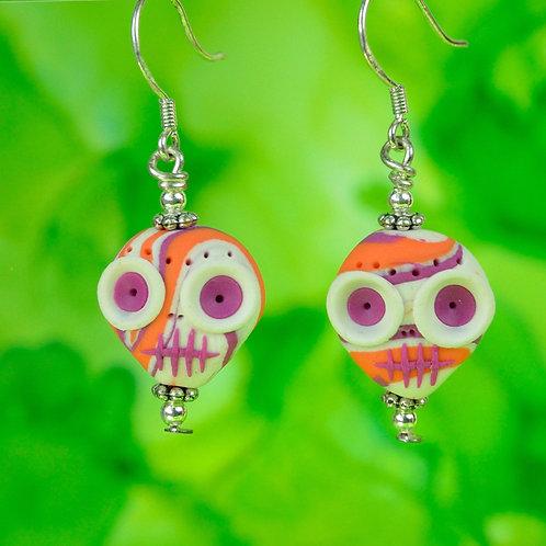 White, Orange & Pink E-Skull Drop Earrings