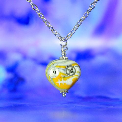 White, Yellow & Silver Classic E-Skull Necklace