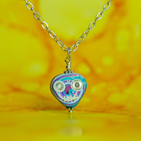 White, Blue & Pink Rare Timepiece E-Skull Necklace