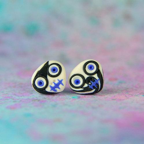 White, Blue & Black E-Skull Stud Earrings