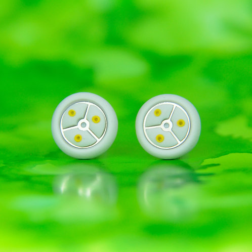 Gray and Yellow Timepiece Stud Earrings (L)