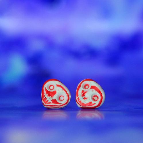 White & Red E-Skull Stud Earrings