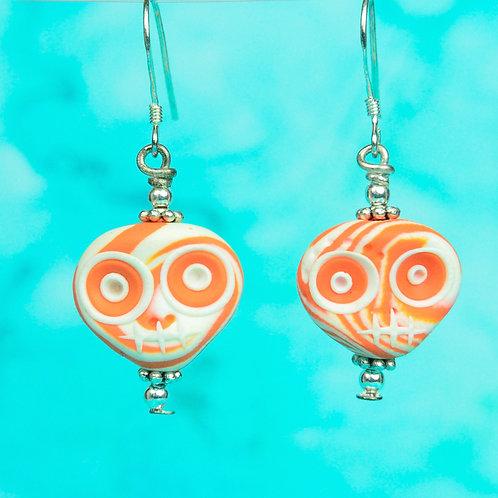 White & Orange E-Skull Drop Earrings