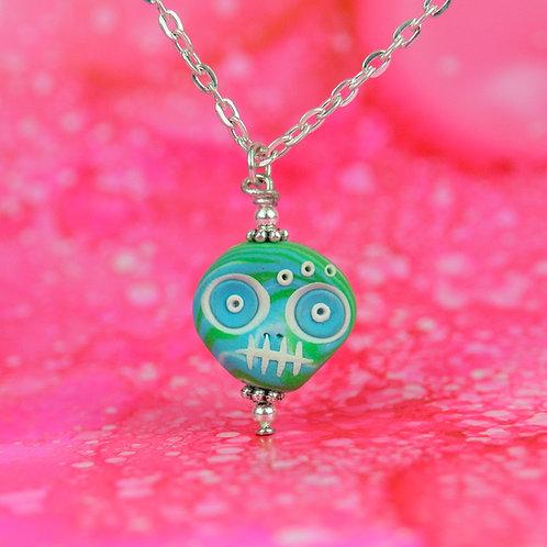 White, Blue & Green Classic E-Skull Necklace