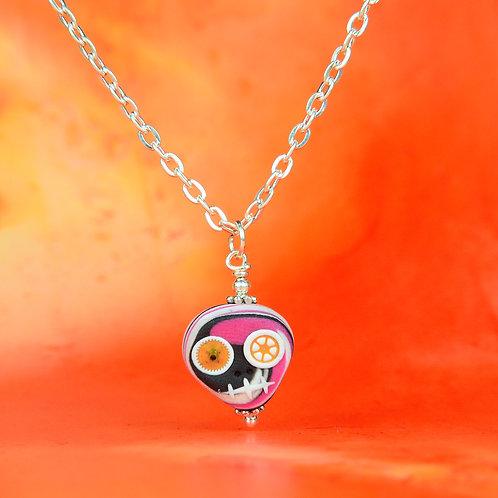 White, Pink & Black Classic E-Skull Necklace