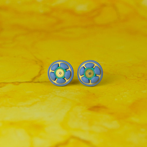 Periwinkle Blue and Green Timepiece Stud Earrings (M)