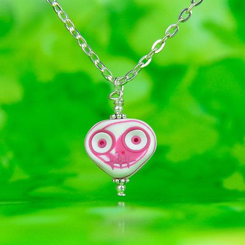 White & Pink Classic E-Skull Necklace