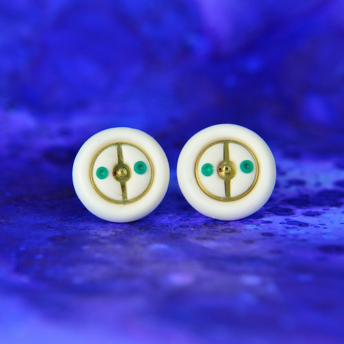 Ivory and Green Timepiece Stud Earrings (L)
