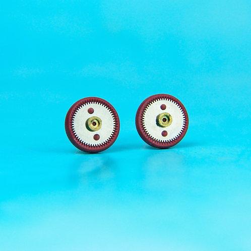 Burgundy Rare Timepiece Stud Earrings (M)