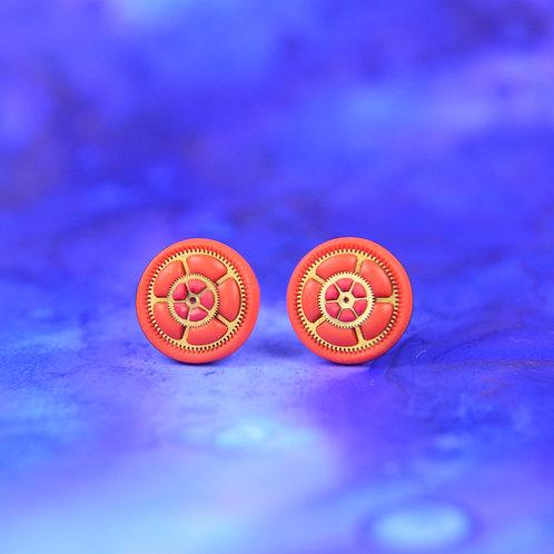 Orange and Pink Timepiece Stud Earrings (M)
