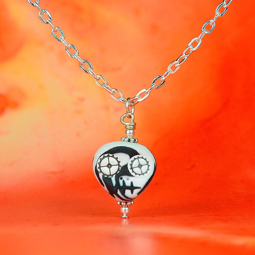 White & Black Classic E-Skull Necklace