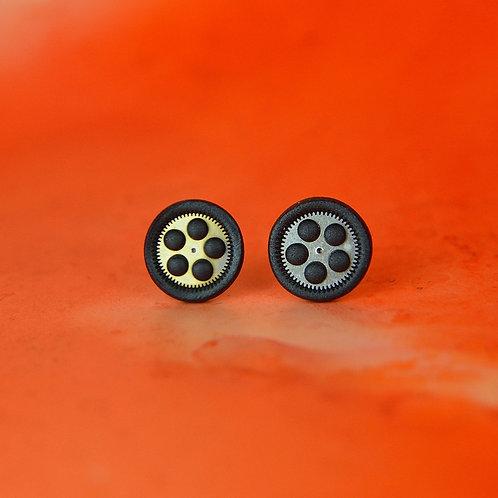 Black Rare Timepiece Stud Earrings (M)