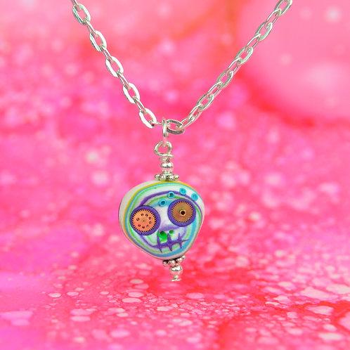 White, Blue, Purple & Green Rare Timepiece E-Skull Necklace