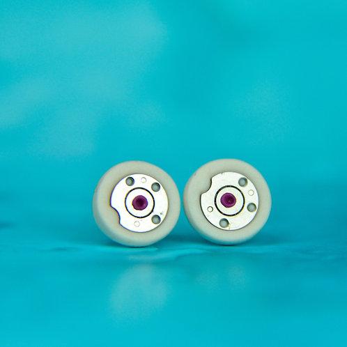 White Rare Timepiece Stud Earrings (S)