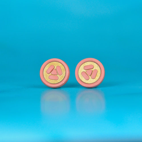 Dusky Pink Rare Timepiece Stud Earrings (M)