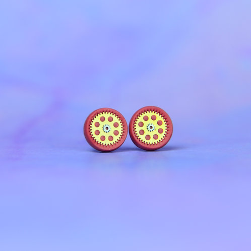 Cranberry Red Rare Timepiece Stud Earrings (S)