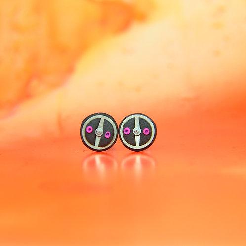 Black & Pink Timepiece Stud Earrings (M)