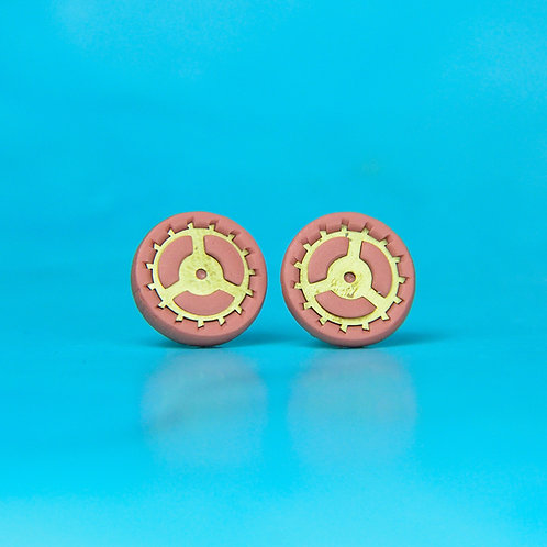 Dusky Pink Rare Timepiece Stud Earring (L)