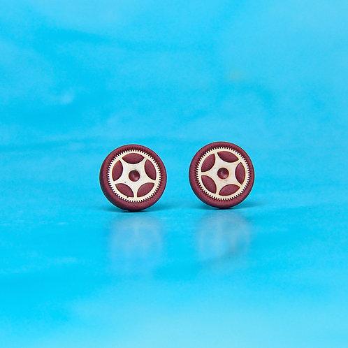 Burgundy Red Rare Timepiece Stud Earrings (M)