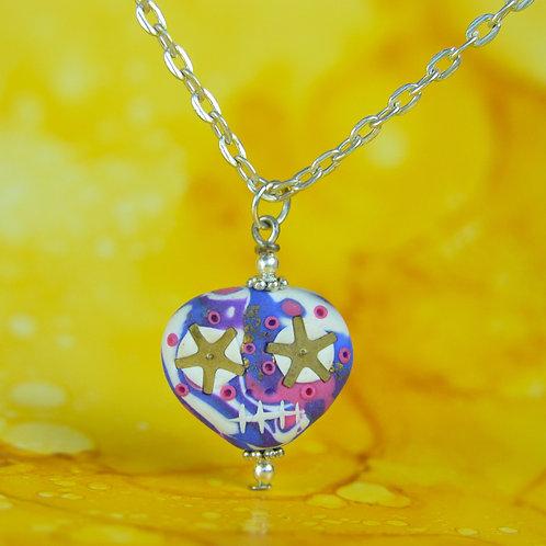 White, Purple, Pink & Blue Rare Timepiece E-Skull Necklace