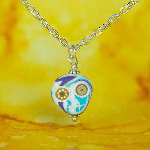 White, Purple & Blue Rare Timepiece E-Skull Necklace