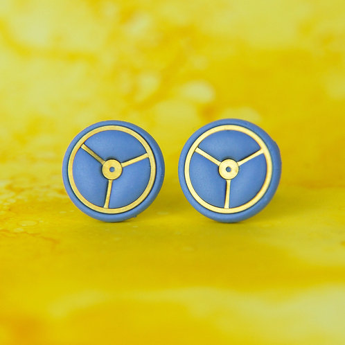 Periwinkle Blue Timepiece Stud Earrings (L)