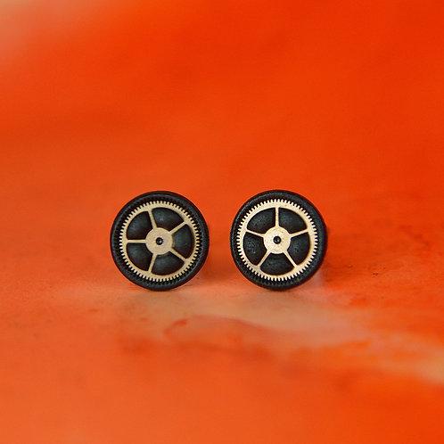 Black Timepiece Stud Earrings (M)