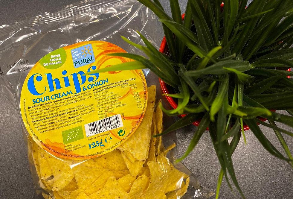Kukurūzas čipsi ar sīpolu un skābā krējuma garšu 125g