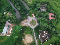 Birds eye view of the university roundabout