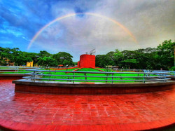 It took a little sunshine and a gentle rain to make the rainbow over the university roundabout