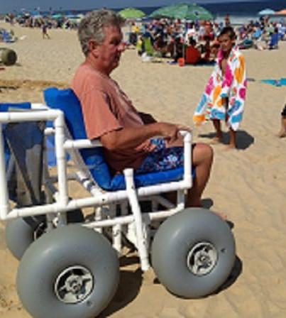 PVC Beach Wheelchair by AccessRec at Mon