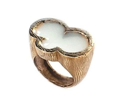 Brass white enamel Ring