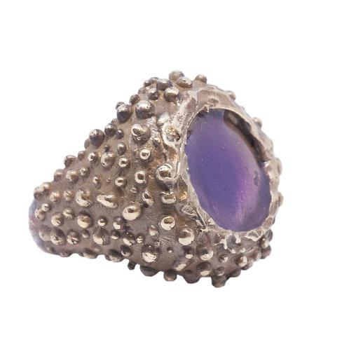 Bronze Ring with Purple Enamel