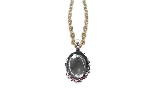 Burnished Silver Pendand Neclace with Amethyst