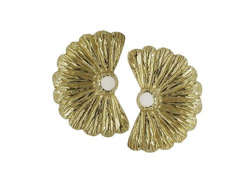 Brass Earrings and White Enamel